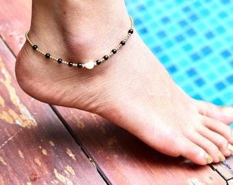 Pearl And Black Beads, Onyx And Brass Anklet, Beaded Anklet, Wiven Anklet, Guft Idea, A42