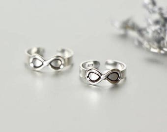 Infinity Silver Toe Ring, Silver Toe Band, Adjustable Toe Ring, Minimalist Toe Ring, Gift Idea, Boho Style, Feet Jewelry,Trendy (TS6)