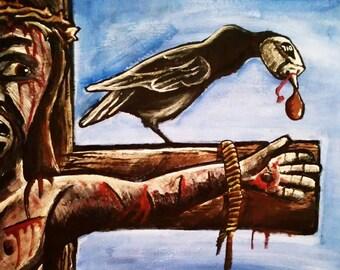 Original Atheist Jesus Christ Gory Crucifixion Outsider Art Acrylic Painting