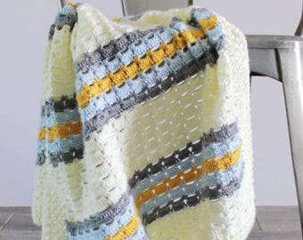Boxed Block Crochet Blanket