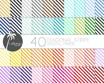 FREE COMMERCIAL USE Diagonal Stripe Digital Paper Set - Set of 40 - Diagonal Stripes - Stripe Digital Paper - Digital paper - Scrapbook