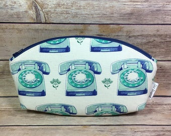 Petal pouch, curvy makeup bag, cosmetic bag, fabric pouch, zipper pouch, rotary phone fabric, retro fabric, pencil pouch, bridesmaid gift