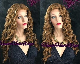 Blonde Mix Retro Waves Human Hair Blend Lace Front Wig - Miss Kidman