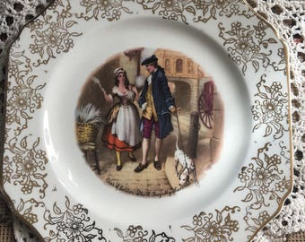 Lovely sqaure Cries of london , who'll buy my lavender plate /hughes longport plate/gold chitz london scenery plate
