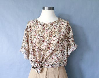 vintage silk blouse/ silk floral blouse/ short sleeve blouse/ silk shirt/silk top women's size L/XL