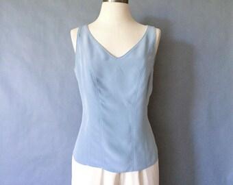 20% off using coupon! Vintage silk sleeveless blouse/ silk tank top/ v neck/ minimalist silk shirt women's size S/M