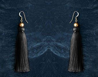 long dangle earrings black tassel jewelry statement earrings boho chic style silk jewelry fringe earrings  gold pearl earrings summer trend