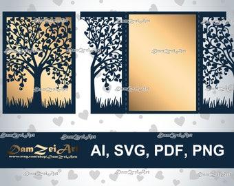 5x7'' Wedding Invitation Card laser Cut Template (ai, svg, pdf, png) vector file pattern, ornamental panels Digital Download