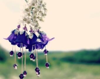 Purple Flower Earrings - Violet Floral Earrings - Vintage Style Bridesmaid Earrings - Gift For Her - Flower Jewelry Gift For Wife Girlfriend