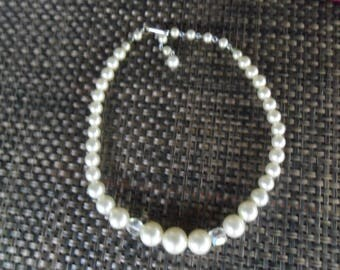 Vintage Single Strand Faux Pearl Choker Necklace~Japan