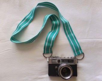 Turquoise Green White Striped Repurposed Belt Camera Strap