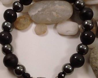 Black Onyx and Hematite Clasp Bracelet for Men or Women