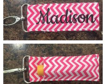 Chevron Monogram/Name Chapstick Holder Keychain/ girl gift/ teenager gift/ coworker/ secret santa