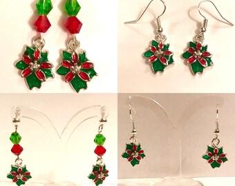 Poinsettia Christmas Earrings, Christmas Flower Earrings, Festive Earrings, christmas Gift, Birthday, secret Santa, Stocking Filler
