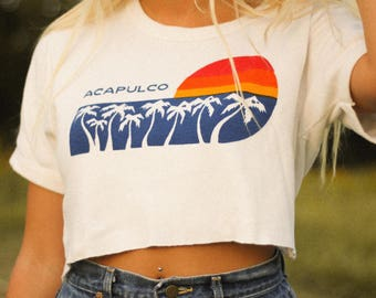 Vintage Acapulco Travel Crop Top