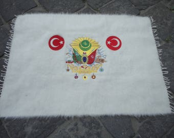 Wall rug,wall hanging Turkish rug,illustrated  Ottoman empire sign,flag of Ottoman empire,hand woven rug,flat woven rug,42'' x 31'' inches