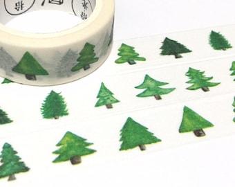 Green tree washi tape 7M pine tree oak tree fir tree rainforest forest Treet Christmas tree green world  tree scenes landscape sticker tape