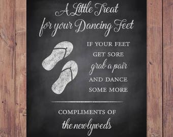 Wedding Flip Flop Sign - treat for your dancing feet - if your feet get sore grab a pair and dance some more - Rustic - PRINTABLE 8x10 - 5x7
