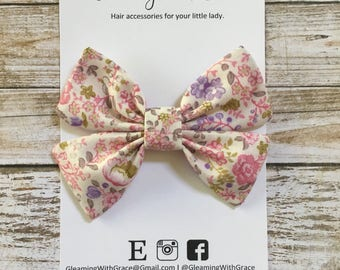 Pink Floral Hair Bow, White Floral Hair Bow, Floral Hair Bow, Pink Hair Bow, Pink Hair Clip, White HairBow, Sailor Bow, Pigtail Bow,Mini Bow