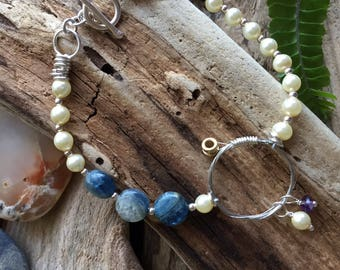 Pretty bracelet /guitar string bracelet /woman's bracelet /gift for her/pearl bracelet /kyanite jewelry