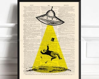 UFO Poster, Book Lover Poster, Alien Abduction, Fringe Art, I Believe, Friend Poster Gift, Boy Poster Gift, Literary Gift Poster, Cool 156
