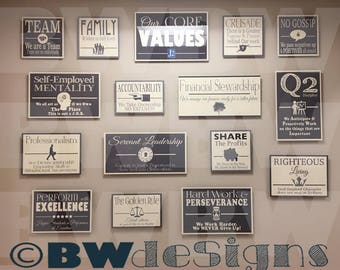 Printed CORE VALUES Signs Your company Logo Added Ramsey Office Model Wall of Words Company Values Staff Motivational Inspirational Prints