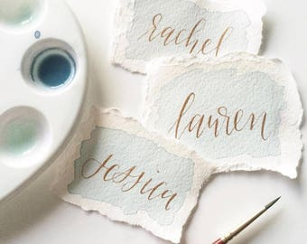 SERVICE Hand Lettered Place Cards, calligraphy, modern calligraphy, hand lettering, wedding, wedding details, table decor, stationery, event