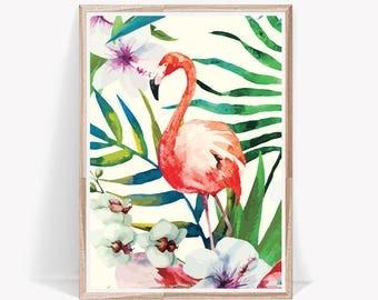 Tropical Print,Tropical Wall Poster,Tropical Large Art,Tropical,Tropical Wall Poster,Flamingo Pink Print,Flamingo Poster,Wall Print Flamingo