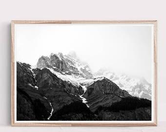 Nordic Mountain Art,Mountain Print,Nordic Mountain,Black and White Print,Mountain Digital Art,Nordic Printable Art,Minimalist Nordic Art