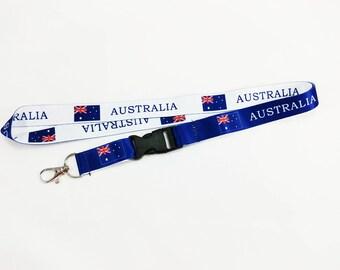 Australia flag reversible lanyard/keychain