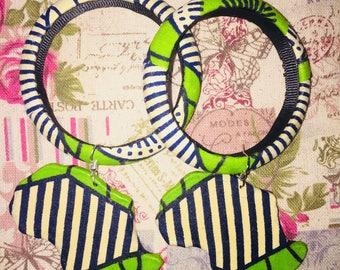 Ankara Fabric bangles with African map earrings