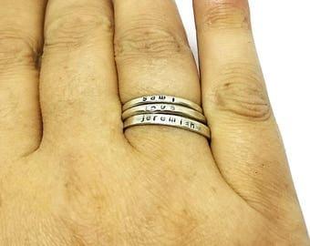 Sterling Silver Name Rings, Stacking Personalized Rings, Sterling Silver Stackable Rings, Hand Stamped Stacker Rings, Stacking Posey Rings