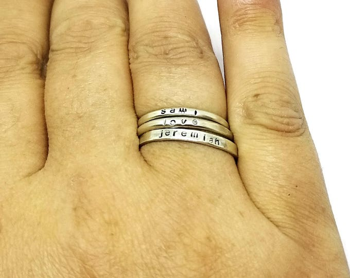 Sterling Silver Name Rings, Stacking Personalized Rings, Sterling Silver Stackable Rings, Hand Stamped Stacker Rings, Stacking Posey Rings