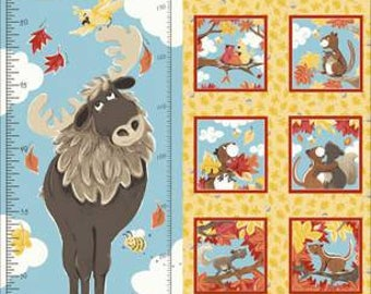 """Bruce the Moose Growth Chart Panel 30"""" from Susybee SB20251-325 susy bee quilting cotton woven fabric character kids susy bee"""