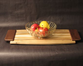 Large Exotic Hardwood, Serving Tray, Gift made from Spalled Maple, Walnut and Cherry Inlays, and Walnut Handles Item: T193