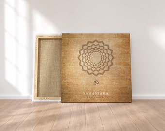 SAHASRARA - Crown Chakra Poster - VINTAGE - old paper fx. Spiritual gifts, yoga studio decor, zen art, yoga printable, digital download
