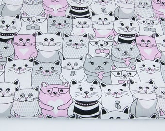Cotton 100% cotton fabric printed 50 x 160 cm , grey and pink cats