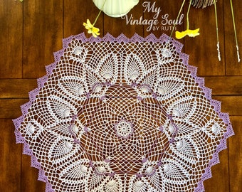Lavender Hexagon Doily - Spring Dove Doily - French Country Decor - Vintage Table Doily - Wedding Gift - Crochet Lace Doily