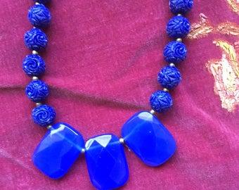 Beaded Necklace With Three Quartz Pendants
