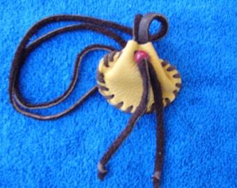 Native Deer Skin Medicine Bag Leather Medicine Bag Necklace Bag Medicine Pouch