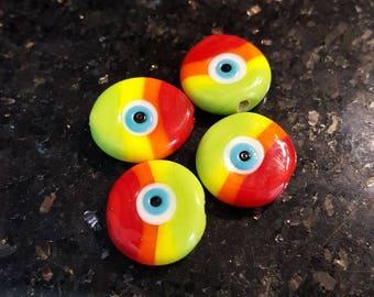 Colorful evil eye bead, rainbow evil eye bead, handmade evil eye bead (2 pieces)