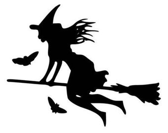 Witch Flying vinyl decal  for cars walls yeti tumblers cups laptops windows v42