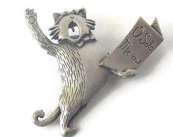 JJ Jonette Pewter Singing Cat Brooch, JJ Jonette Brooch, Pewter Brooch, O Solo Meow, Cat Jewelry, Pewter Jewelry, Pewter Cat brooch