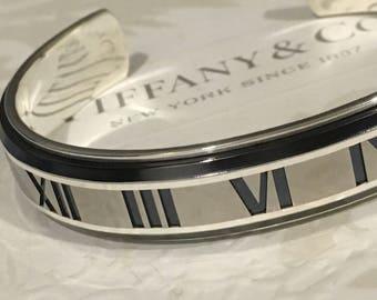 Excellent Authentic Tiffany & Co. Wide Atlas Numeral Titanium x Silver Bangle Cuff