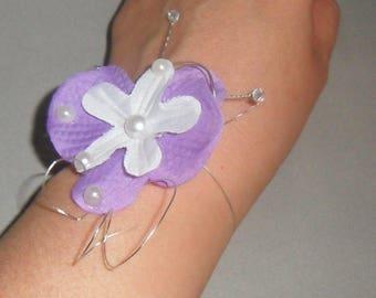 White and purple wedding bridal bracelet
