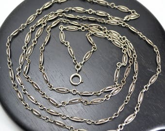 "Antique Victorian 57"" SOLID SILVER French Fancy Lozenge Link Long Guard / Muff Chain - Very Long!"