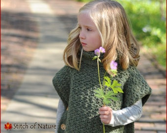 """Crochet PATTERN - The Lakewood Pullover Poncho Pattern (18"""" doll, Toddler to Adult XL sizes - Girls) - id: 16052"""