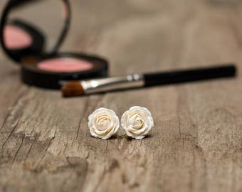 Miniature Rose Earrings, Wedding Jewelry, Titanium Earrings, Hypoallergenic Stud Earrings, Bridesmaids Gift