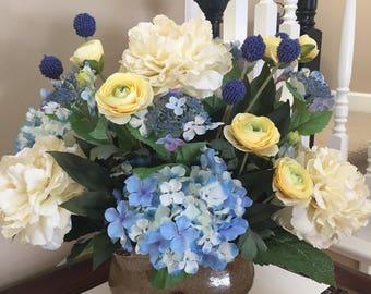 Silk Flower Arrangement, Centerpiece, Cotton Blue Hydrangea, Peony, Yellow Flower Arrangement, Elegant Centerpiece, Table Centerpiece