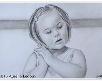 """Portrait au crayon graphite """"Dans ses yeux"""""""
